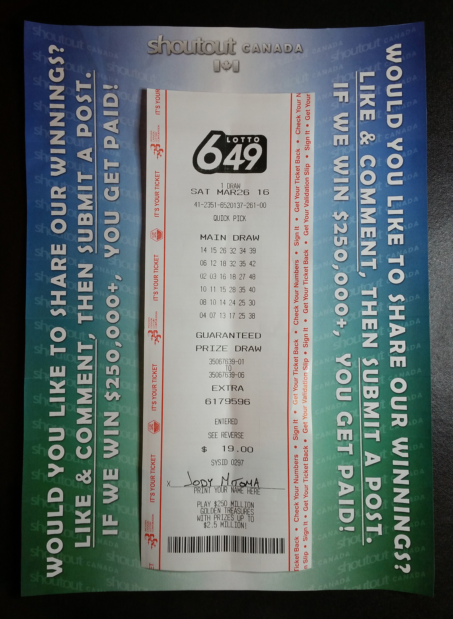 LOTTO 649 - POST MARCH 26 - DRAW MARCH 26